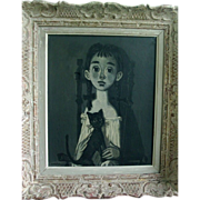 Roger Chaput Oil Painting on Canvas - Modernist Portrait Girl with Cat in Carved Wood Louis XV