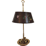 A Good French Gilt Bronze / Ormolu Bouillotte Lamp with Tole Shade