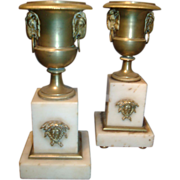 Fine Pair Early 19th c. French Empire Gilt Bronze & White Marble Garniture Urns - Ormolu