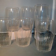 Set 6 Large 19th century Anglo / Irish Thumb Cut Crystal Tumblers Water Glasses
