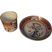 Early 19th century Spode Imari or Japan Porcelain Coffee Can and Saucer in the Kakiemon Patter