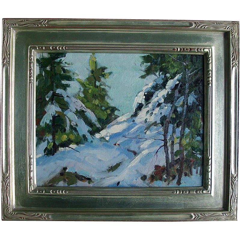 Mid 20th c. Oil Painting on Board - Snow Scene by Bernard Corey (1914 - 2000)