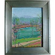 Henry Curtis Ahl Oil Painting on Board - Northern Georgia Spring