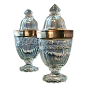 Pair Antique 18th century Anglo Irish Cut Glass Urns and Covers with Old Sheffield Silver Moun