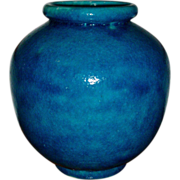 French Art Deco Turquoise Crackle Glazed Pottery Vase 1920