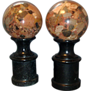 Pair Classical Specimen Marble Spheres or Trophies on Pedestal Columns