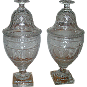 Pair Antique 19th Century Anglo Irish Glass Cut Crystal Chestnut Urns
