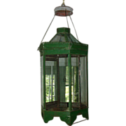 Antique 19th century American Tole Paint Decorated Hexagonal Hall Lantern