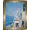 Fine Wells Moses Sawyer Oil Painting of a Sea Ship on the Mediterranean with Elba in the Distance