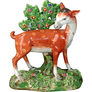 Exceptional Antique 18th century Pearlware Figure of a Doe or Deer in Bocage Staffordshire