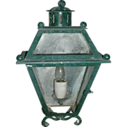 Vintage Early 20th century Paint Decorated Iron Wall Sconce Lantern