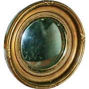 Antique 19th century English Regency Carved & Gilt Wood Convex Bull's Eye Mirror of Small ...