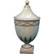 Antique 19th century Continental Tin Glaze Faience Pottery Covered Vase Urn