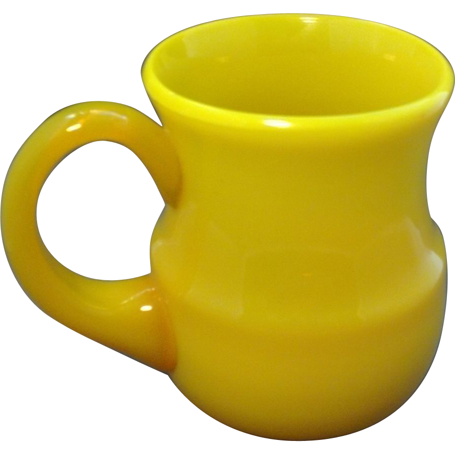 Antique 19th century Chinese Canary Yellow or Egg Yolk Peking Glass Mug