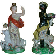 Pair Antique 18th century William Duesbury Derby Porcelain Continents - Europa and Africa
