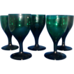 Group of Five English Georgian Hand Blown Emerald Green Wine or Sherry Glasses 19th century