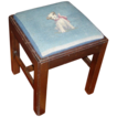 Vintage Georgian Mahogany Square Stool with Blue Dog Needlepoint Cover