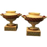 Fine Pair 18th century Derby Urn Form Porcelain Pastille Burners 1790