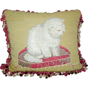 Antique 19th century Needlework Cat Pillow