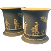Pair Large Antique Early 19th century Wedgwood Jasperware Cachepot Urns