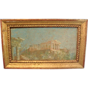 Grand Tour Oil Painting of the Acropolis in Gilt Wood Frame by Henry Plussing