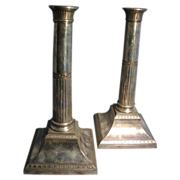 18th c. Old Sheffield Plate Candlesticks Silver on Copper 1790