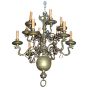 Fine and Rare Antique 18th century Dutch Bronze 12 Light Chandelier