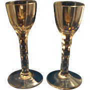 Fine Pair 18th / 19th century Georgian Anglo Irish Cut Stem Crystal Sherry Glasses 1800