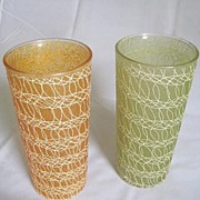 "Spaghetti String ""Icy Luster"" Tall Glass Tumbler Set by Color Craft"