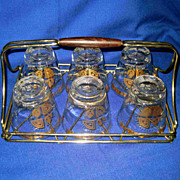 Mid Century Modern Bar Caddy with Six Gold Gilded Glasses