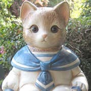 SOLD Wilbur The Cat  Cookie Jar  with Glass Marble Eyes!