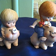 "SALE Cute ""Country Cousins""  on Pigs Porcelain Enesco Figurines"