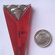 "SALE Art Deco Style ""Red Arrow"" Pin with Unusual Iridescent Lucite"