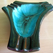 Vintage Modernist Blue Mountain Glazed Terra Cotta Ashtray or Art Piece