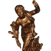 Art Nouveau Metal Statue Sculpture Young Girl