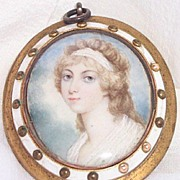 Antique Watercolor on Ivory Young Lady