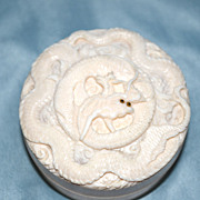 A Japanese Carved Ivory Circular Box