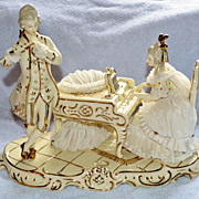 German Porcelain Piano Couple Dresden Art
