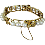 SALE Estate 14K Gold and Pearl Bracelet Grape Leaf Motif