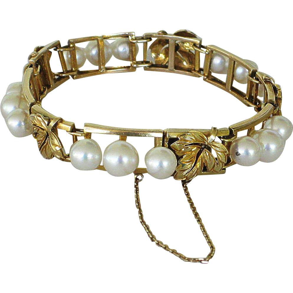 Estate 14K Gold and Pearl Bracelet Grape Leaf Motif