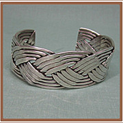 Mexico Sterling Silver Cuff Bracelet Twisted Strands