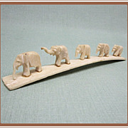 Elephants Carved Bone Marching Family