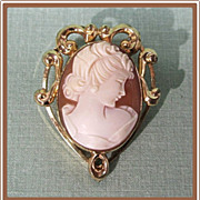SALE Gold Filled Cameo Pin Pendant Uncas