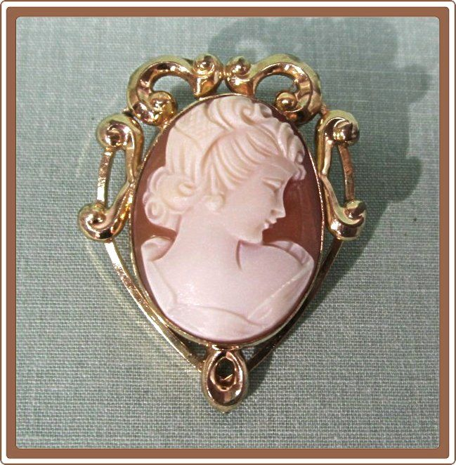 Gold Filled Cameo Pin Pendant Uncas