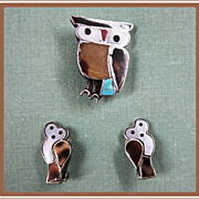Sterling Silver Owl Pin and Earrings Inlaid Mother of Pearl
