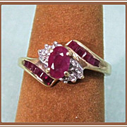 10K Gold Ruby Ring with Tiny Diamonds