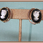 Cameo Earrings Vintage Plastic Black