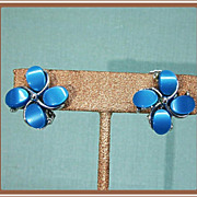 Aqua Blue Thermoset Plastic Clip Earrings