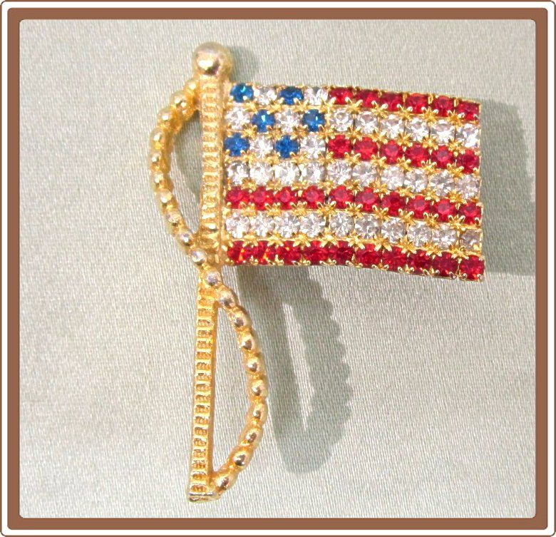 Rhinestone American Flag Pin Rafaelian Vintage