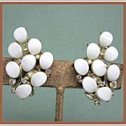 Kramer White Thermoset Aurora Borealis Rhinestone Earrings